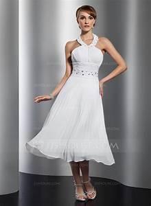 a line princess halter tea length chiffon homecoming dress With robe longueur midi