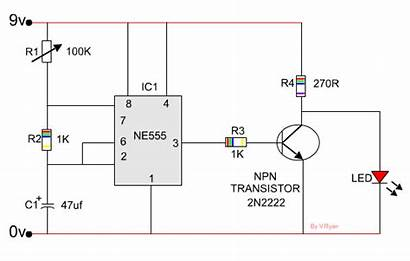 Astable Circuit 555 Led Switched Pulses Repeated