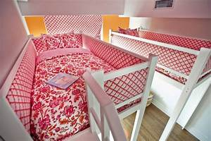 Amazing, Pink, And, Orange, Loft, Bedroom, For, Two, Girls