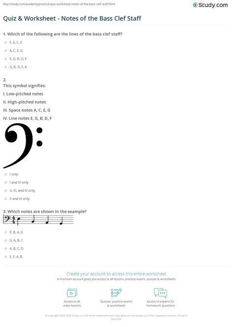 quiz worksheet notes   bass clef staff studycom