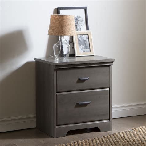 south shore versa  drawer night stand gray maple home