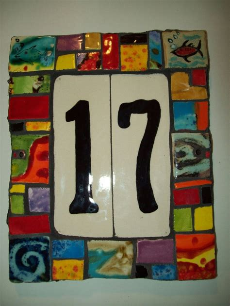 handmade multicolored ceramic house number tile by