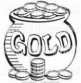 Coloring Gold Pot Coins Leprechaun Pages Stack Cartoon Quarter Printable Near Leprechauns Coin Template Retro Drawing Clipart Retroillustrations Nickel Mine sketch template