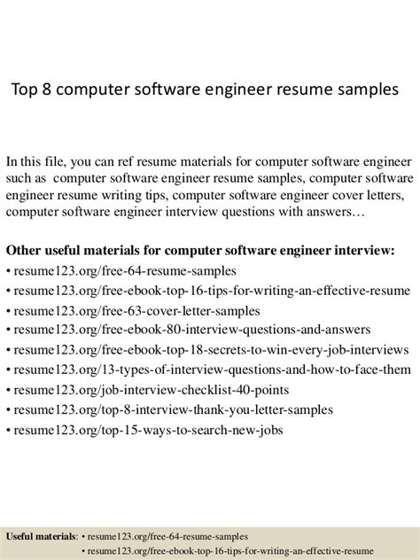 Resume Headline For 6 Months Experienced Software Engineer by Top 8 Computer Software Engineer Resume Sles
