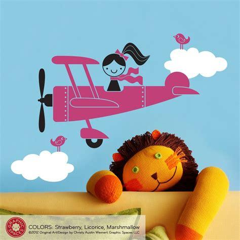Get the best deals on wall decor girls nursery wall décor. Airplane Girl Wall Decal | Girls wall decals, Kids wall ...