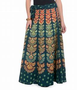 Buy Rajasthani Sarees Green Cotton Skirts Online at Best ...