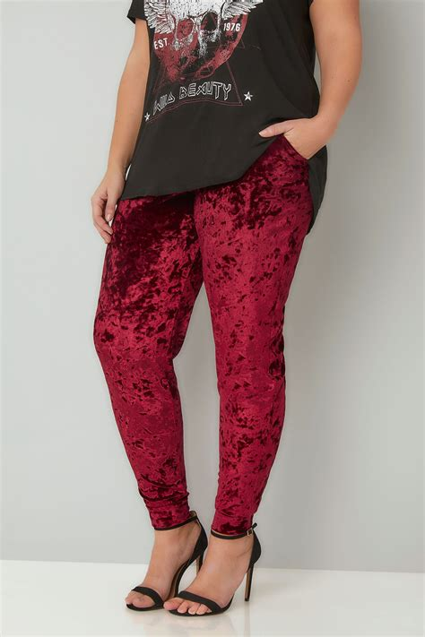 LIMITED COLLECTION Red Crushed Velvet Joggers Plus size 16 to 32