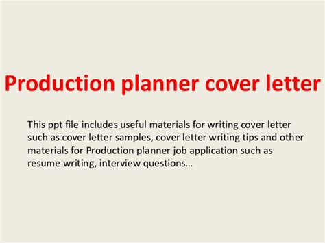 production planner cover letter