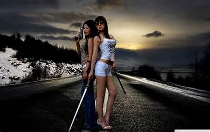 Guns Swords Asian Gun Sword Babes Winter