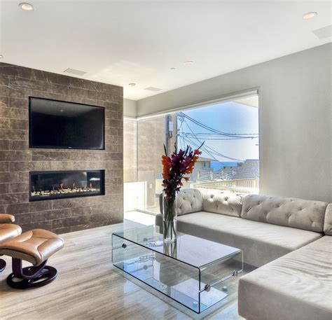 coco marble fireplace haisa light marble floor modern living room los angeles by soli