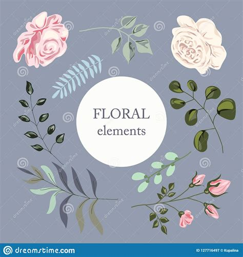 Set Of Watercolor Elements In Pastel Colors Flowers