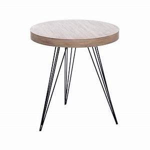 Table Basse Ronde Bois Metal : table basse ronde 55 cm en bois et pieds m tal coloris bois achat vente table basse table ~ Teatrodelosmanantiales.com Idées de Décoration