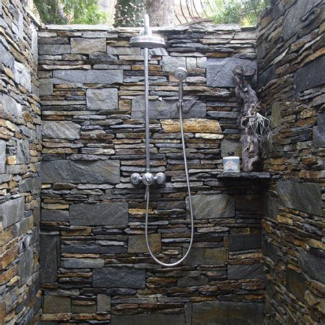 rock tile shower outdoor showers from breakwater design build inc by