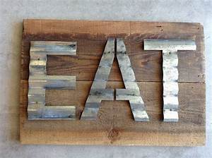 Handmade sign using vintage reclaimed barn wood with for Wood sign with metal letters