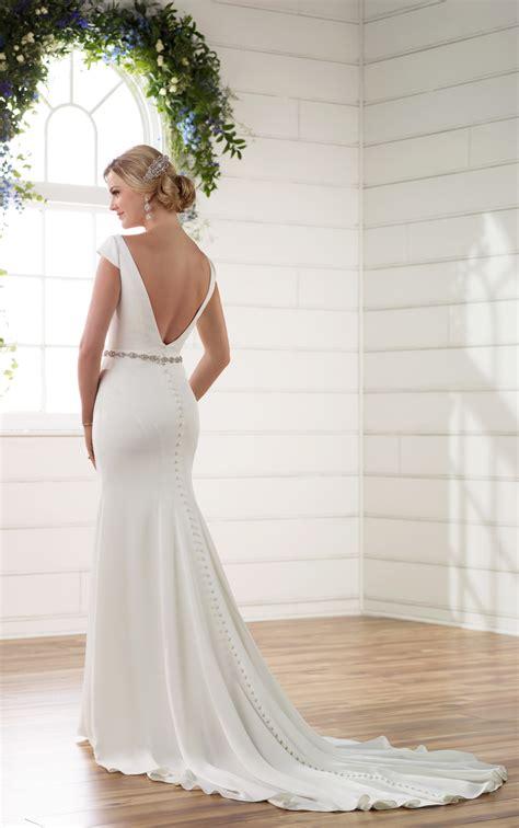 Boat Neck V Back Dress by Boat Neck Wedding Dress With Cap Sleeves V Back