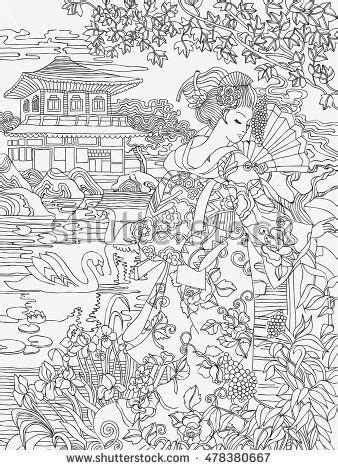 coloring pages japanese woman   background