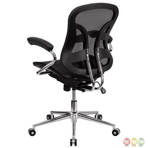 mid back black mesh swivel task chair with chrome base and