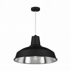 Industrial, Black, Painted, Metal, Hanging, Pendant, Light, With, Chrome, Inner