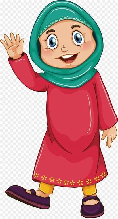 Clipart Muslim Woman Background Illustration Islam Clip
