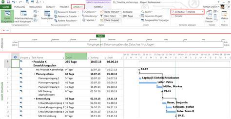 ms project wie sie eine zeitachse oder timeline anlegen