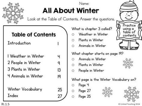 winter literacy worksheets 1st grade a kindergarten