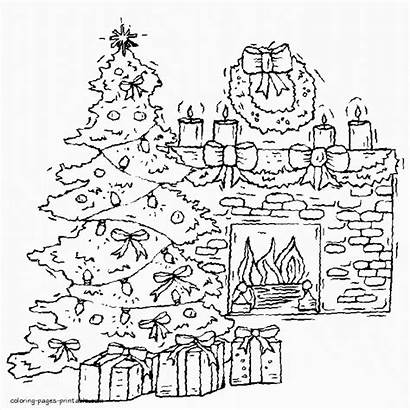 Coloring Christmas Tree Pages Fireplace Printable Holiday