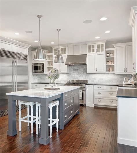 white kitchen ideas with island white marble kitchen with grey island house home White Kitchen Ideas With Island