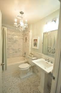 the small and chic home house tour marble subway tile and basket weave floor guest