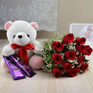 Send Red Rose Bunch With Cute Teddy And Chocolates online ...
