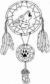 Dreamcatcher Coloring Wolf Catcher Dream Native American Pages Tattoo Designs Drawings Getcoloringpages sketch template