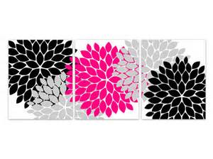 home decor canvas wall art hot pink and black flower burst