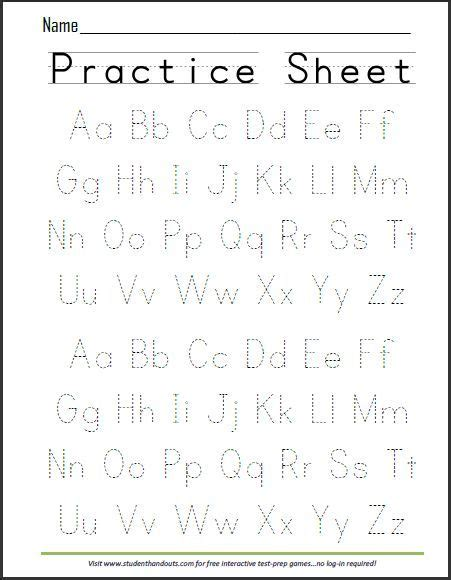 print abcs dashed handwriting practice worksheet writing