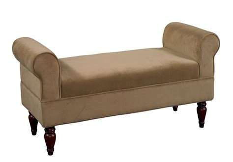 rolled arm accent bench upholstered bedroom settee carved