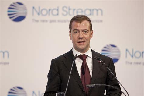 Dmitry Medvedev Shakes Hands With Gerhard Schroder