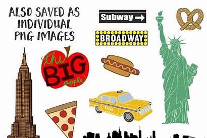 York Clip Broadway Taxi Map Creativemarket Pizza