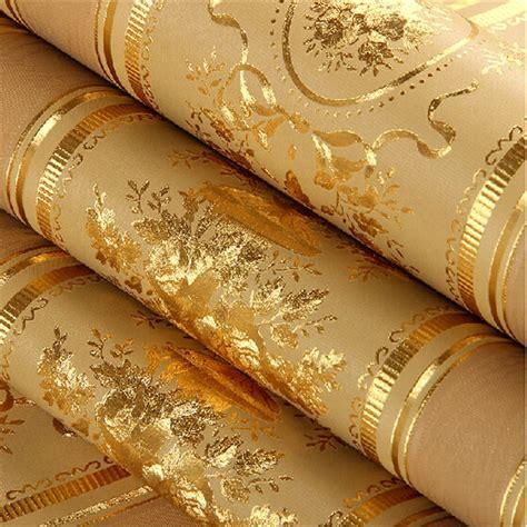 european luxury gold foil wallpaper  floral striped