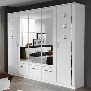 Armoire Chambre Blanche : armoire 5 portes et 3 tiroirs maggia blanc ~ Teatrodelosmanantiales.com Idées de Décoration