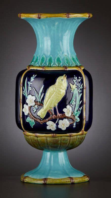majolica baluster vase  staffordshire england