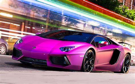 Purple Lamborghini Aventador Lp700-4 Supercar 4k Hd