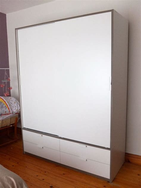 ikea trysil wardrobe  sliding doors drawers white