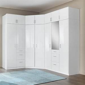 Alton Corner Wardrobe In High Gloss Alpine White With