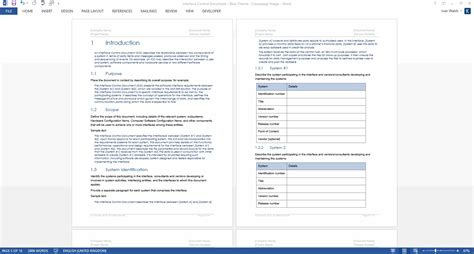Interface Design Document Template by Interface Document Ms Word Template