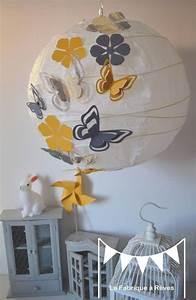 Abat Jour Chambre Fille : abat jour suspension luminaire rond envol e de papillons gris et jaune 11 l ments ~ Melissatoandfro.com Idées de Décoration