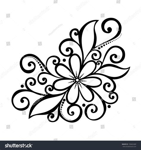 beautiful decorative flower leaves vector patterned stock