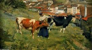 Ignacio Díaz Olano >> Motrico Village avec des vaches (, reproduction, copie, tableau, oeuvre