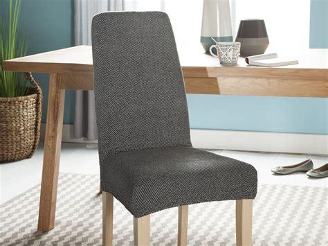 housse de chaise but housse de chaise unie extensible effet nid d abeille hugo gris
