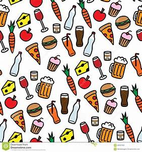 Seamless Background Pattern With Food And Drinks Stock ...