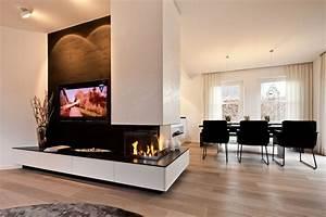 TV Kamin Kombination Im Wohnzimmer Tischlerei Schpker