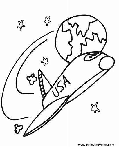 Coloring Space Shuttle Pages Printable Outer Clipart