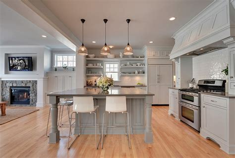 white open kitchen interior design ideas home bunch interior design ideas 276 | Gray Kitchen. Open Concept Gray Kitchen. Gray Kitchen Opens to Family Room. Gray Kitchen with open Shelves and white china. GrayKitchen OpenKitchen OpenCooncept Kitchen . Revision LLC.